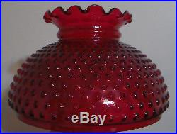 10 Ruby Red Glass Hobnail Student Kerosene Oil Electric Table Lamp Shade PS150R