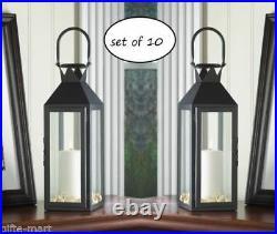 10 lot large 15 tall BLACK Candle holder Lantern Lamp wedding table centerpiece