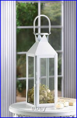 10 lot large WHITE 15 tall Candle holder Lantern lamp wedding table centerpiece