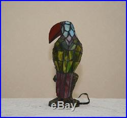 12H Stained Glass Handcrafted Toucan Bird Night Light Table Desk Lamp