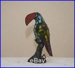 12H Stained Glass Tiffany Style Toucan Bird Night Light Table Desk Lamp