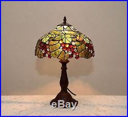 12W Grape Vine Stained Glass Tiffany Style Table Desk Lamp, Zinc Base