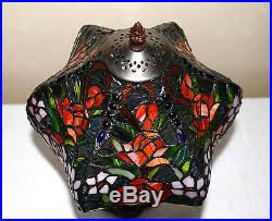 12W Rose Flowers Stained Glass Tiffany Style Table Desk Lamp, Zinc Base