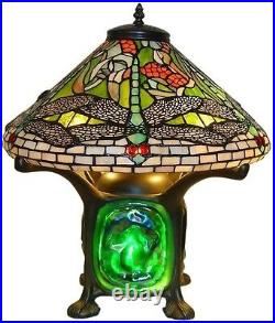 14 Tiffany-Style Green Dragonfly Table Desk Accent Lamp Glass Stained Art Shade