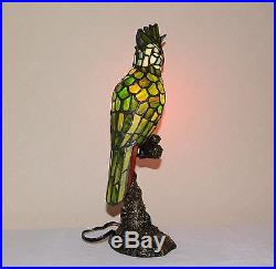 16 H Stained Glass Tiffany Style Parrot Night Light Table Desk Lamp