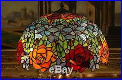 16W Rose Flower Jeweled Stained Glass Tiffany Style Table Desk Lamp, Zinc Base