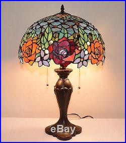 16W Roses Peony Jeweled Stained Glass Tiffany Style Table Desk Lamp, Zinc Base