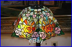 16W Roses Stained Glass Handcrafted Table Desk Lamp, Zinc Base