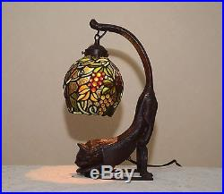 18.5H Cat/ Grape Vine Stained Glass Tiffany Style Table Desk Lamp Night Light