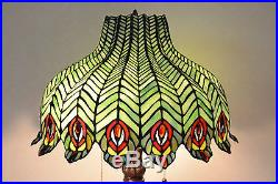 18W Peacock Stained Glass Tiffany Style Jeweled Table Desk Lamp, Zinc Base