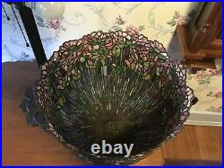 18W Stained Glass Lotus Water Lily Flower Handcrafted Bronze Table Lamp