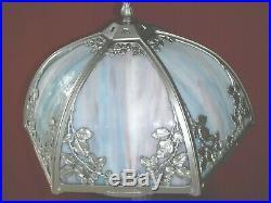 1920s ART NOUVEAU SLAG GLASS LAMP DOUBLE LIGHT - BRADLEY & HUBBARD