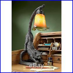 1930's Antique Replica Feline Cat Stretch Glass Shade Whimsical Kitty Desk Lamp