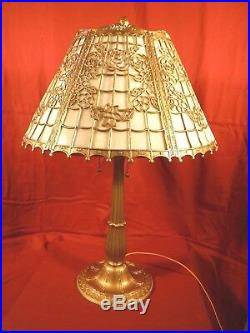 1930s ART DECO TWO LIGHT TABLE LAMP With SLAG GLASS SHADE