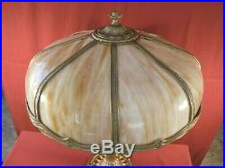 1930s ART DECO TWO-LIGHT TABLE LAMP With SLAG GLASS SHADE