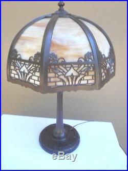 1930s ART NOUVEAU MEDIUM SLAG GLASS LAMP-BRADLEY & HUBBARD