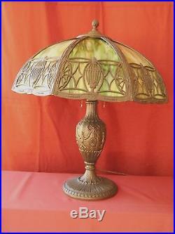1930s ART NOUVEAU SLAG GLASS TABLE LAMP