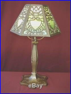 1930s ART NOUVEAU TABLE LAMP With SLAG GLASS SHADE