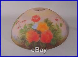 1930s REVERSE PAINTED GLASS TABLE Lamp Floral Design PEBBLE TEXTURE Handel like