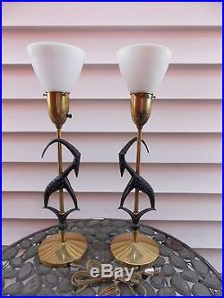 1950s Era Rembrandt Antelope Table Lamp Set Fiber Glass Shades Set of 2