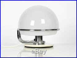 1960s italian Guzzini metal table lamp and glass shade Space Age Design