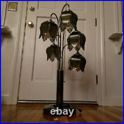 1970's Vintage Art Deco Lotus Flower Glass Table Lamp Tulip Chrome, 38 in height
