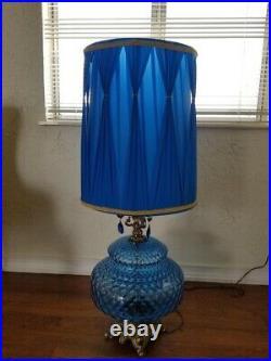 1970s Hollywood Regency Ef & Ef Industries Blue Glass Lamp Set a Pair