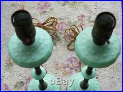 2 Art Deco Jadeite Green Glass Metal Lamps Vintage Antique Boudoir Table Lamp