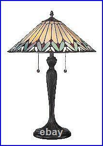 2 Light Table Lamp Tiffany Table Lamp Geometric Style Bronze Patina Finish
