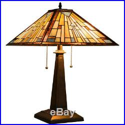 2-Light Table Lamp with Stained Glass Lampshade Lamps, Light For Home & Garden