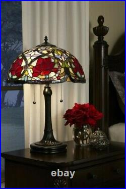 2 Light Tiffany Table Lamp Tiffany Floral Table Lamp Vintage Bronze Finish