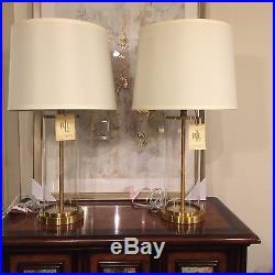 2045d633b102 2 (Pair) New Ralph Lauren Glass Cylinder Brass Payton Table Lamp Signed