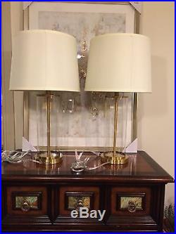 2 (Pair) New Ralph Lauren Glass Cylinder Brass Payton Table Lamp Signed