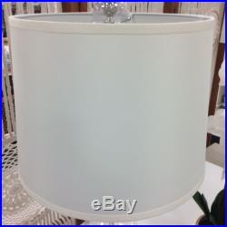 (2) RALPH LAUREN PAYTON SILVER CLEAR GLASS CYLINDER TABLE LAMPS New