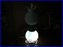 2 Vintage Fenton Poppy Blue Satin Milk Glass Table Lamps