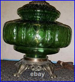 2 Vintage MCM Hollywood Regency Table Lamps withNight Light Green Glass Base