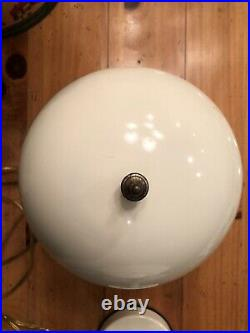 2-Vintage Metal Dome White Mushroom & Green Glass Touch Desk Lamp