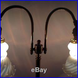 2 arm Vintage Lamp art glass shades Handel Tiffany arts & crafts brass base