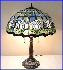 20W Zinc Base Tulip flowers Stained Glass Tiffany Style Jeweled Table Lamp