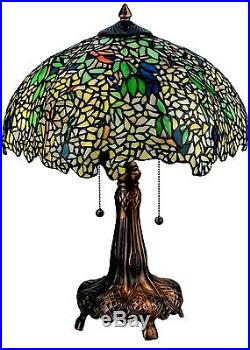 22 Inch H Tiffany Laburnum Table Lamp In Mahogany Bronze Authentic Stained Glass