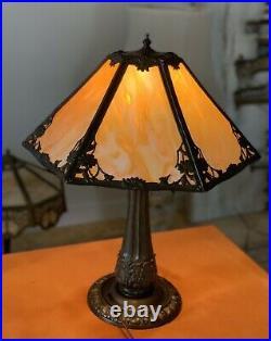 22H antique slag glass lamp
