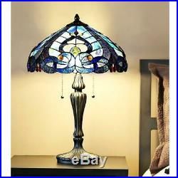 24.25 in. Tiffany Style Blue Indoor Table Lamp Stained Glass Sea Shore Shade