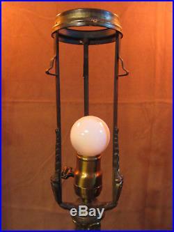 25 WILKINSON Lamp BASE # 251 w Top Ring slag leaded stained glass, Handel era