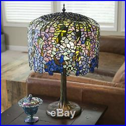 29.5'' H Stained Glass Tiffany Inspired Grand Wisteria Table Decor Lamp Blue
