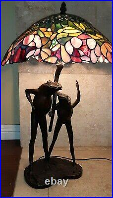 29 Bronze Antique Tiffany Style Frog Table Lamp With Stained Glass Shade