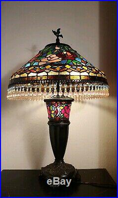29H Tiffany Style Stained Glass Parisian Table Lamp Light Hanging Beaded