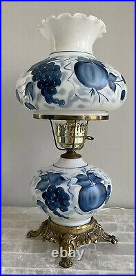 3 Way GWTW Hurricane Parlor Lamp Blue Grapes Painted Milk Glass Lighted Base VTG