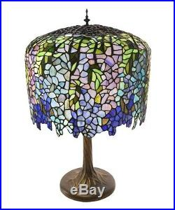 30Stained Glass Tiffany Inspired Grand Wisteria Table Lamp with Tree Trunk Base