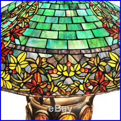34 H Stained Glass Hampstead Table Lamp with Turtleback and Mosaic Base