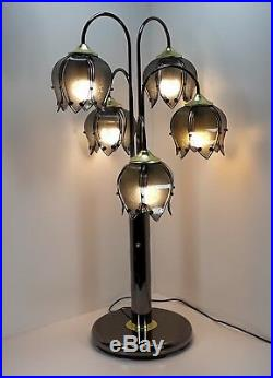 38 Waterfall lamp flower pedals glass lotus table tulip chrome vtg etched retro